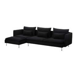 SÖDERHAMN three-seat sofa and chaise longue, Replösa black Width: 291 cm Min. depth: 99 cm Max. depth: 151 cm