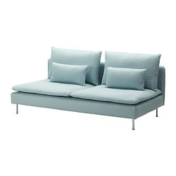 SÖDERHAMN three-seat section, Isefall light turquoise Width: 186 cm Depth: 99 cm Height: 83 cm