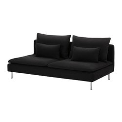 SÖDERHAMN three-seat section, Replösa black Width: 186 cm Depth: 99 cm Height: 83 cm