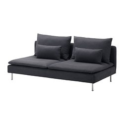SÖDERHAMN three-seat section, Samsta dark grey Width: 186 cm Depth: 99 cm Height: 83 cm