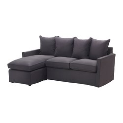 HÄRNÖSAND two-seat sofa and chaise longue, Tallåsen dark grey Width: 195 cm Min. depth: 80 cm Max. depth: 138 cm
