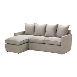 HÄRNÖSAND two-seat sofa and chaise longue, Tallåsen sand Width: 195 cm Min. depth: 80 cm Max. depth: 138 cm