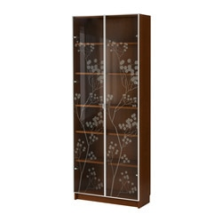 "BILLY/ BILLY VALBO bookcase with glass doors, medium brown Width: 31 1/2 "" Depth: 11 "" Height: 79 1/2 "" Width: 80 cm Depth: 28 cm Height: 202 cm"