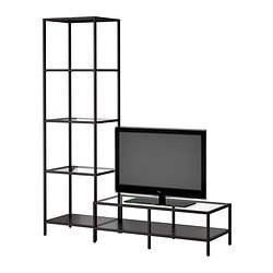 VITTSJÖ TV storage combination, glass, black-brown Width: 151 cm Min. depth: 36 cm Max. depth: 40 cm