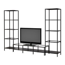 VITTSJÖ TV storage combination, glass, black-brown Width: 252 cm Min. depth: 36 cm Max. depth: 40 cm