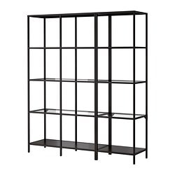 VITTSJÖ storage combination, glass, black-brown Width: 151 cm Depth: 36 cm Height: 175 cm