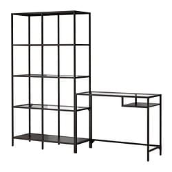 VITTSJÖ shelving unit with laptop table, glass, black-brown Width: 200 cm Depth: 36 cm Min. height: 74 cm