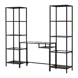 VITTSJÖ shelving unit with laptop table, glass, black-brown Width: 202 cm Depth: 36 cm Max. height: 175 cm
