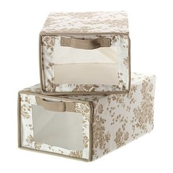 GARNITYR shoe box, white flower, beige Package quantity: 2 pack