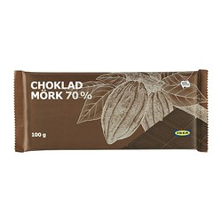 CHOKLAD MÖRK 70% dark chocolate, 70%, Utz certified Net weight: 3.5 oz Net weight: 100 g