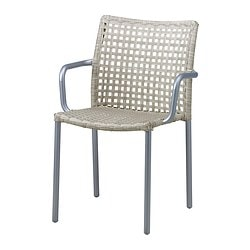 ENHOLMEN chair with armrests, light grey Width: 56 cm Depth: 55 cm Height: 80 cm