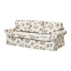 EKTORP MURBO three-seat sofa-bed, beige, Norlida white Width: 221 cm Depth: 103 cm Height: 96 cm