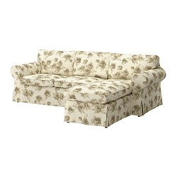 EKTORP two-seat sofa and chaise longue, beige, Norlida white Width: 252 cm Min. depth: 88 cm Max. depth: 163 cm
