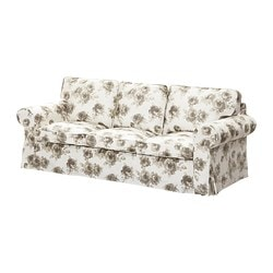 EKTORP cover three-seat sofa, beige, Norlida white