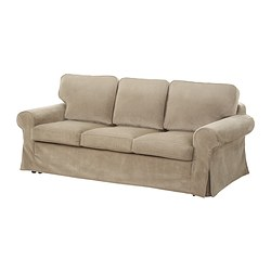 EKTORP MURBO three-seat sofa-bed, Vellinge beige Width: 221 cm Depth: 103 cm Height: 96 cm