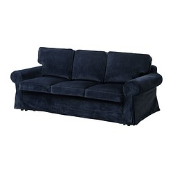 EKTORP MURBO three-seat sofa-bed, Vellinge dark blue Width: 221 cm Depth: 103 cm Height: 96 cm