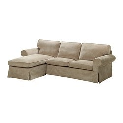 EKTORP cover two-seat sofa w chaise lounge, Vellinge beige
