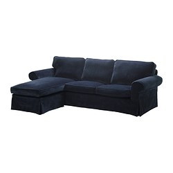 EKTORP two-seat sofa and chaise longue, Vellinge dark blue Width: 252 cm