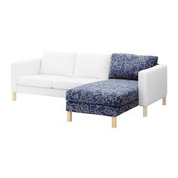 KARLSTAD chaise longue, add-on unit, beige, Bladåker blue Width: 80 cm Depth: 160 cm Height: 80 cm