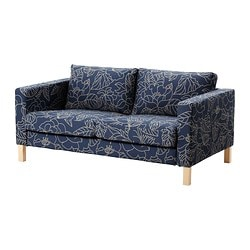 KARLSTAD cover two-seat sofa, beige, Bladåker blue