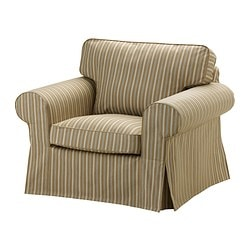 EKTORP armchair cover, stripe, Linghem light brown