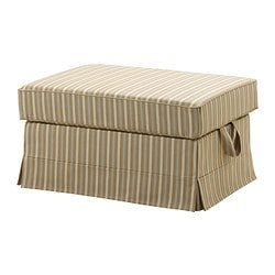 EKTORP cover footstool, stripe, Linghem light brown
