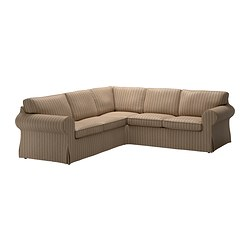 EKTORP corner sofa 2+2 cover, stripe, Linghem light brown
