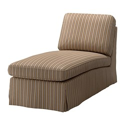 EKTORP chaise longue, stripe, Linghem light brown Width: 72 cm Depth: 163 cm Height: 88 cm
