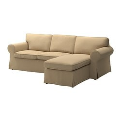EKTORP two-seat sofa and chaise longue, Edsken beige Width: 252 cm Min. depth: 88 cm Max. depth: 163 cm