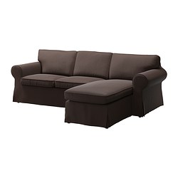 EKTORP cover two-seat sofa w chaise lounge, Edsken brown