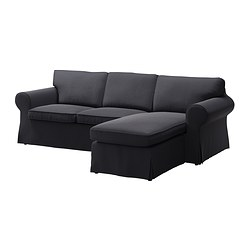 EKTORP two-seat sofa and chaise longue, Edsken dark grey Width: 252 cm Min. depth: 88 cm Max. depth: 163 cm