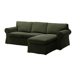 EKTORP two-seat sofa and chaise longue, Edsken green Width: 252 cm Min. depth: 88 cm Max. depth: 163 cm