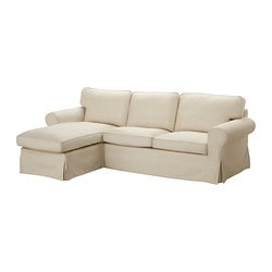 EKTORP two-seat sofa and chaise longue, Isefall natural Width: 252 cm Min. depth: 88 cm Max. depth: 163 cm