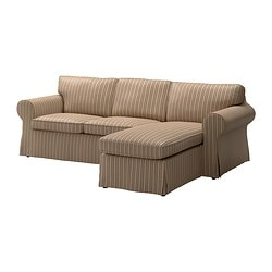 EKTORP cover two-seat sofa w chaise lounge, stripe, Linghem light brown