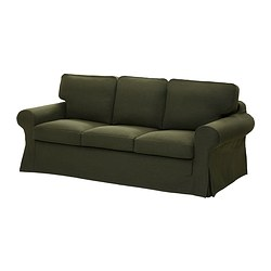 EKTORP LÖVÅS three-seat sofa-bed, Edsken green Width: 221 cm Depth: 103 cm Height: 96 cm