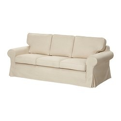 EKTORP HÅVET three-seat sofa-bed, Isefall natural Width: 221 cm Depth: 103 cm Height: 96 cm