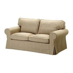 EKTORP cover two-seat sofa, stripe, Linghem light brown