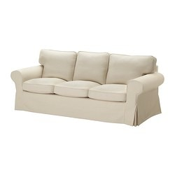 EKTORP cover three-seat sofa, Isefall natural