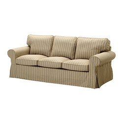 EKTORP three-seat sofa, stripe, Linghem light brown Width: 218 cm Depth: 88 cm Height: 88 cm