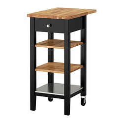 STENSTORP kitchen trolley, oak, black-brown Width: 43 cm Min. depth: 44.5 cm Height: 90 cm