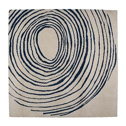 EIVOR CIRKEL rug, high pile, white/blue Length: 200 cm Width: 200 cm Surface density: 3200 g/m²