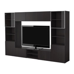 BESTÅ TV storage combination, black-brown Width: 300 cm Depth: 40 cm Height: 192 cm