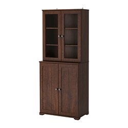 "BORGSJÖ shelf unit with panel/glass doors, brown Width: 29 1/2 "" Depth: 16 1/2 "" Height: 71 1/4 "" Width: 75 cm Depth: 42 cm Height: 181 cm"
