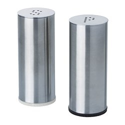 "PLATS salt & pepper shaker, set of 2, stainless steel Diameter: 1 "" Height: 3 "" Diameter: 3 cm Height: 7 cm"
