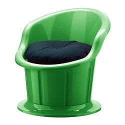 POPPTORP armchair with cushion, black, green Width: 67 cm Depth: 73 cm Height: 67 cm