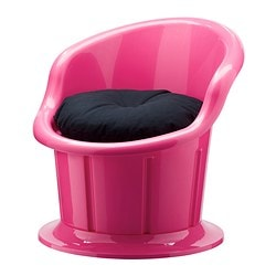 POPPTORP armchair with cushion, black, pink Width: 67 cm Depth: 73 cm Height: 67 cm