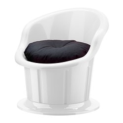 POPPTORP armchair with cushion, black, white Width: 67 cm Depth: 73 cm Height: 67 cm