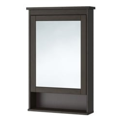 HEMNES mirror cabinet with 1 door, black-brown stain