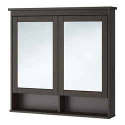 HEMNES mirror cabinet with 2 doors, black-brown stain Width: 103 cm Depth: 16 cm Height: 98 cm
