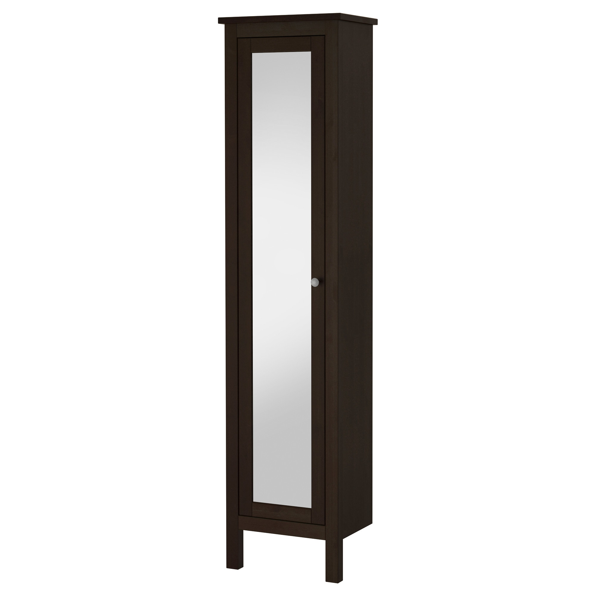 hemnes high cabinet with mirror door black brown stain width 19 1